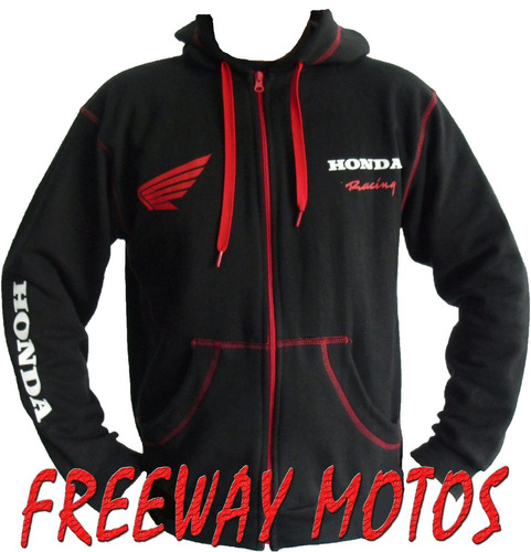 campera honda yamaha c/ capucha negro mod 2013 freeway motos
