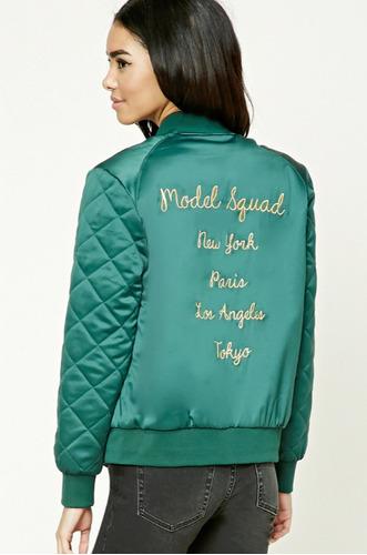 campera jacket bomber forever 21 - model squad verde talle s