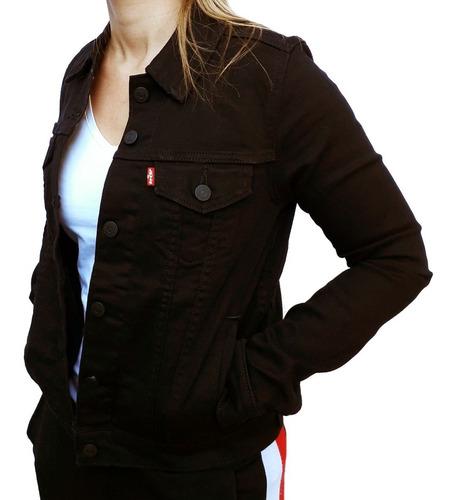 campera jean negra levis original trucker mujer