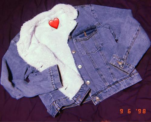 campera jeans con corderito