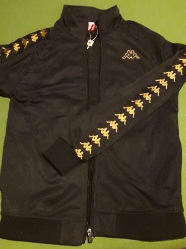 campera kappa banda anniston slim moda negra dorado