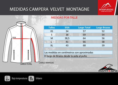 campera mujer montagne inflable velvet capucha fibra hueca