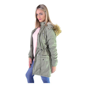 Campera Parka Militar Larga Corderito Mujer The Big Shop