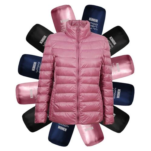 campera pluma ganso 100% natural mujer térmica liviana rosa
