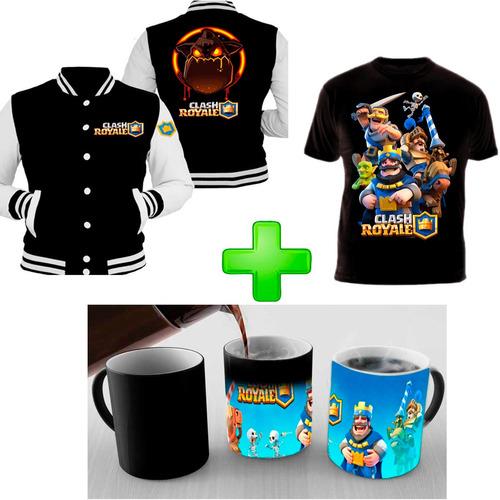campera + taza mágica + remera clash royale promo imperdible