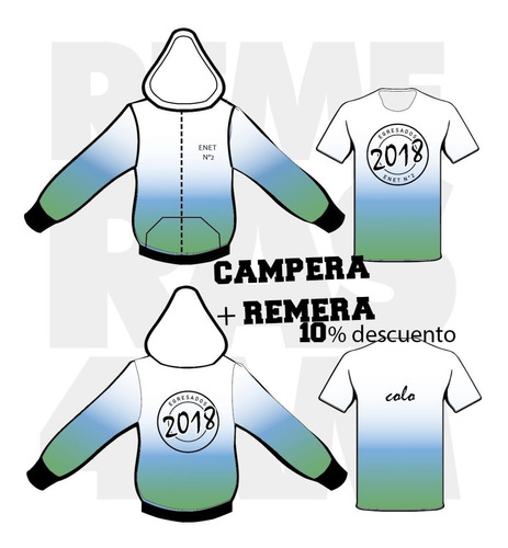 camperas + remera primario fullprint 2019 egresados 4am