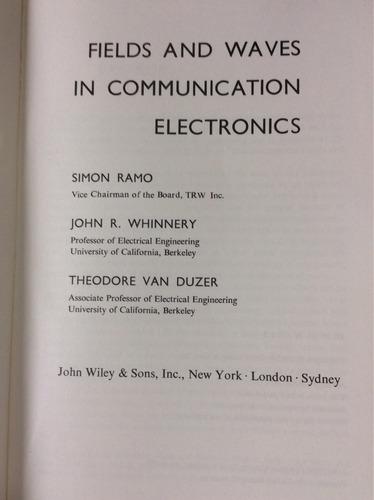 campos y ondas en comunicación electrónica. simon ramo
