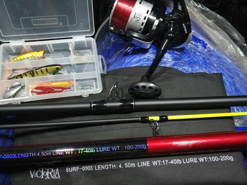 caña de pescar 4.50m victoria+ kit señuelos lombri