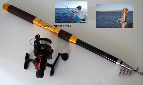 caña de pescar de 4 mts usa stik, 6 aros, acabados dorados