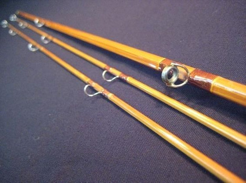 caña de pescar de bambu (con funda de cuero) oportunidad!!