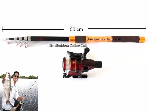caña de pescar en fibra de vidrio+caña telesc+carrete,naylon