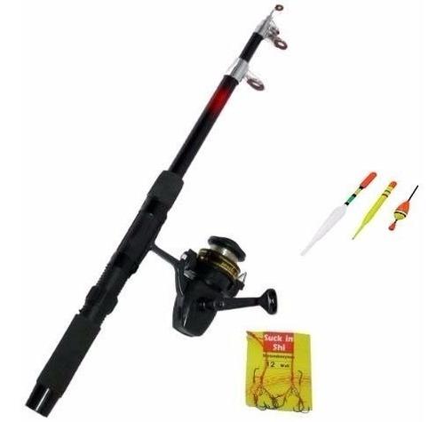 caña de pescar set de pesca boyas + anzuelo + reel + tanza