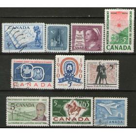 Canadá 10 Sellos Usados Caballo = Avión = Correo Años 1957+