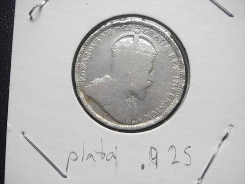 canada 25 centavos fecha 1903 plata ley .925