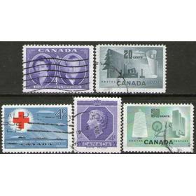 Canadá 5 Sellos Industria Papel Y Textil = Cruz Roja 1951-53