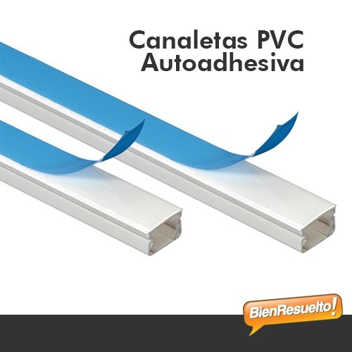 canaleta pvc 10x10 2metros autoadhesiva - bienresuelto