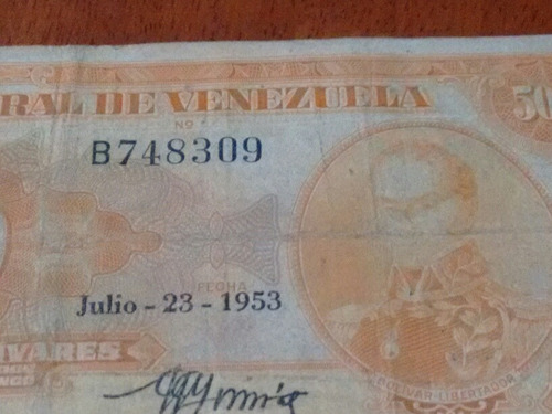 canario billete de 500 1953