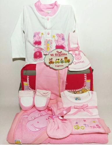 canasta de regalo pañalera c/ ropita para niña  bebe lista