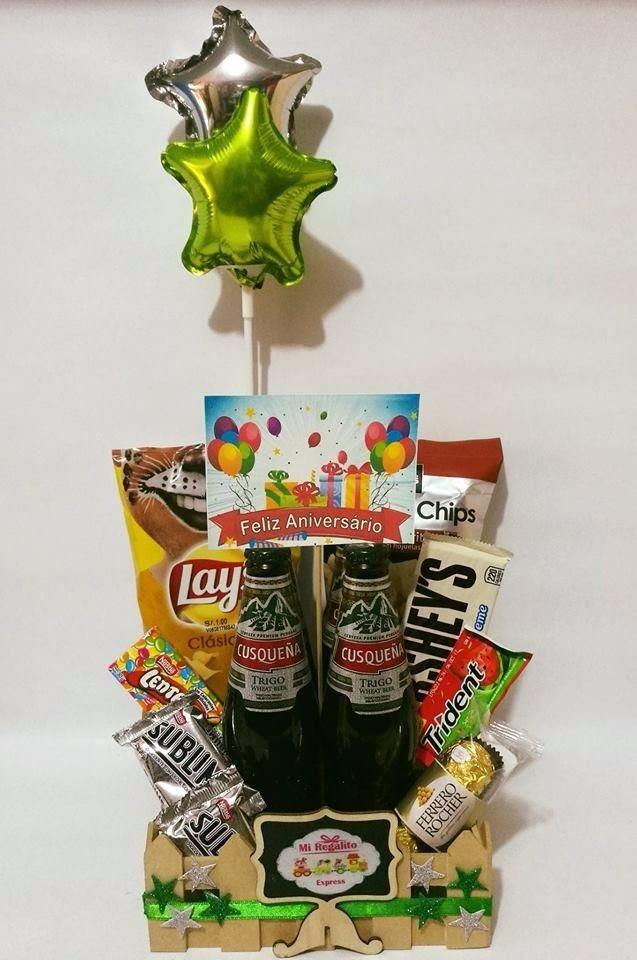 Canasta de regalo para hombre feliz aniversario mi amor for Regalos de aniversario de bodas para amigos
