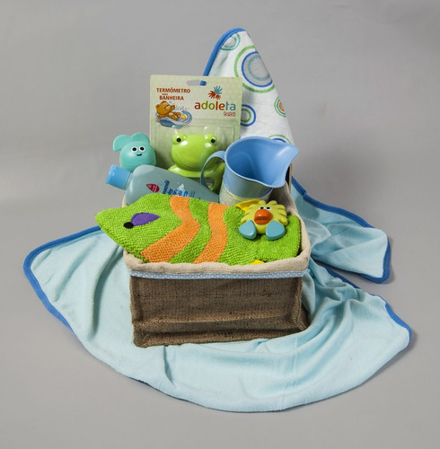 canasta de regalos para bebe baby cube a bañarse varón