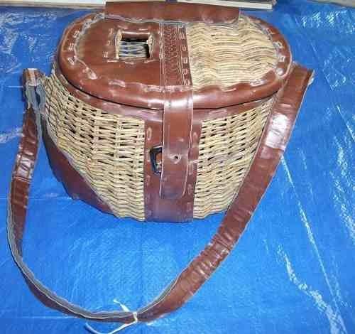 canasta para pic nic 1970s bambu y vinipiel