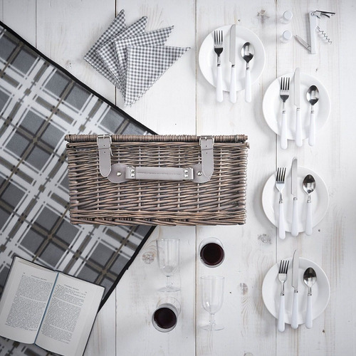 canasta para picnic 4 personas accesorios vonshef grey