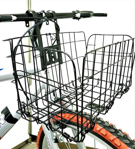 canasta plegable de acero reforzado negro para bicicleta
