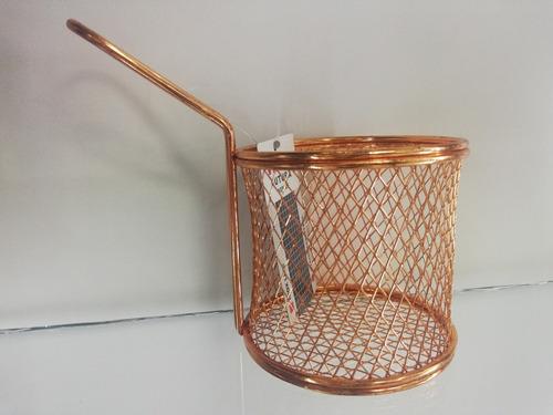 canastilla redonda para servir de cobre 9x8.5