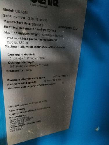 canastillas elevadoras genie gs5390 año 2012