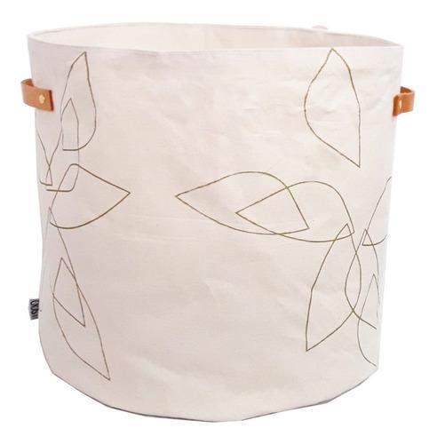 canasto contenedor tela pétalo oro xl liquidación