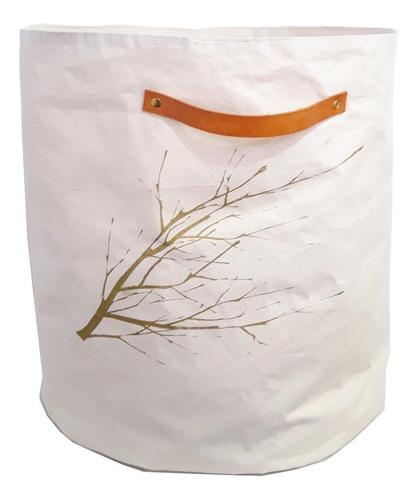 canasto contenedor tela rama oro xl liquidación