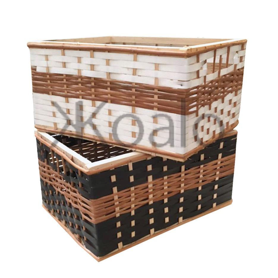 Canastos De Mimbre Y Suncho Combinado Pack X4 Koalo Muebles  # Muebles Mimbre Baratos