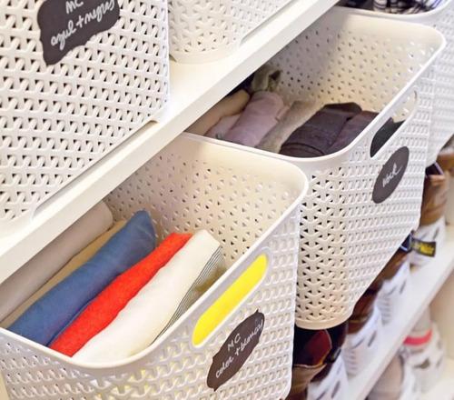 canastos organizador plastico rattan cesto colombraro x 4