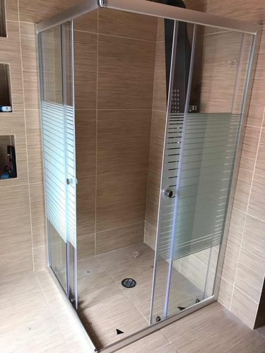 cancel de baño cristal templado 90x90franjas biseladas