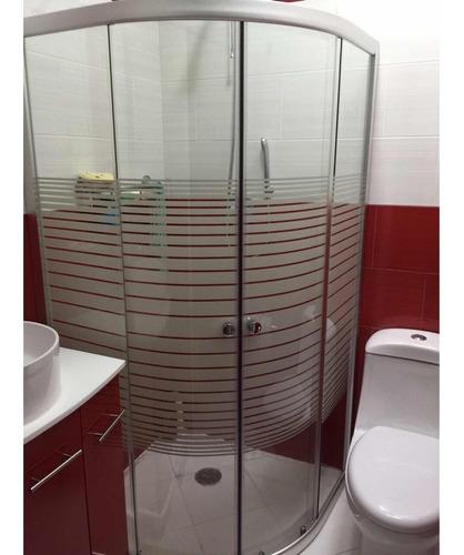 cancel de baño ovalada 90x90 con franjas biseladas