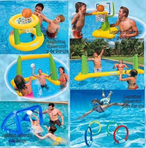 cancha de voleibol inflable + pelota intex piscina 56508