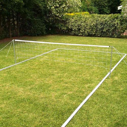 cancha futbol tenis completa adulto kit poste linea red 6x3m - resiste intemperie - hay stock