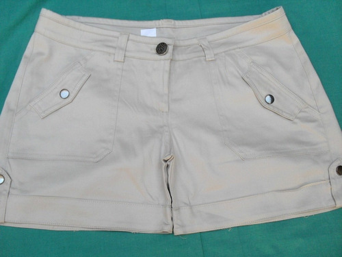 canchero short beige gabardina elastizado nuevo talle m