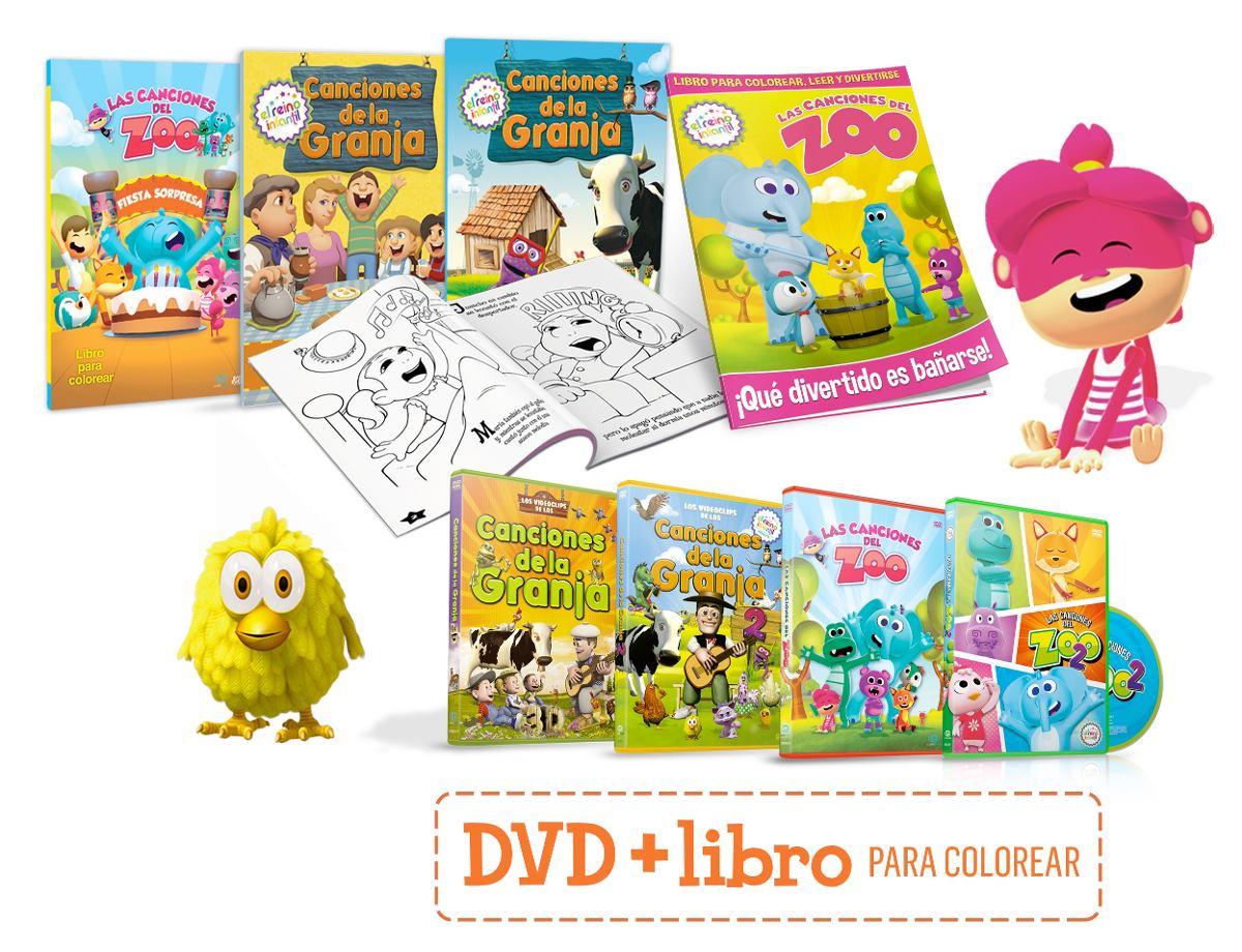 Canciones De La Granja Y Zoo 4 Dvd + 4 Libros Para Colorear - $ 480 ...