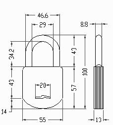 candado acytra 903  de 55mm con cadena 60 cm