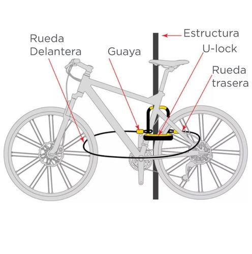 candado bicicleta onguard neon 8153 - u lock amarillo