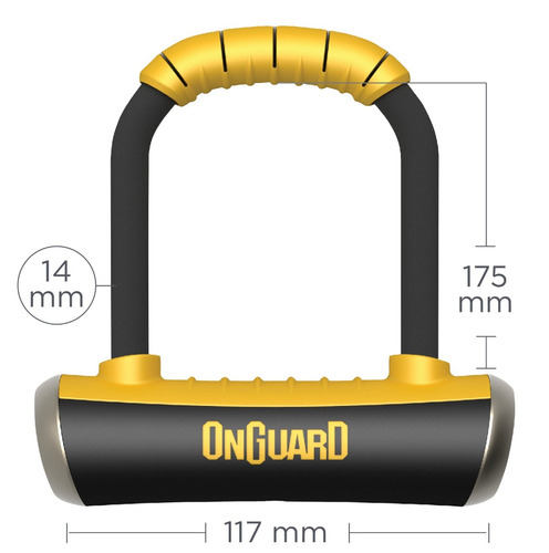 candado bicicleta onguard pitbull 8006 m tipo u lock