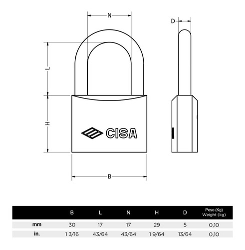 candado intemperie marino de arco 30mm cisa