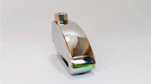candado moto sistema alarma cromado stormlock + obsequios