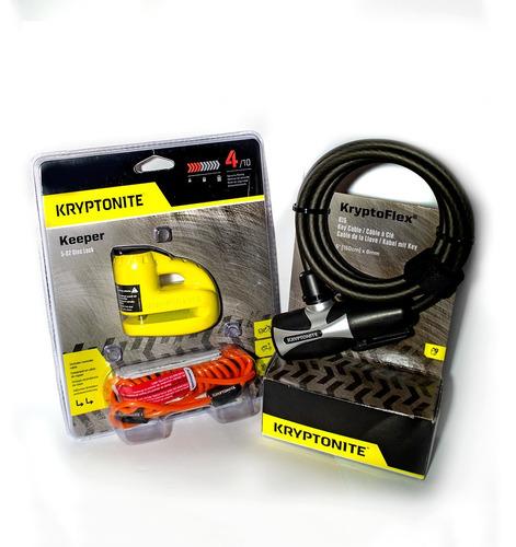 candado motos keeper 5-s disc lock + guaya kryptoflex 815