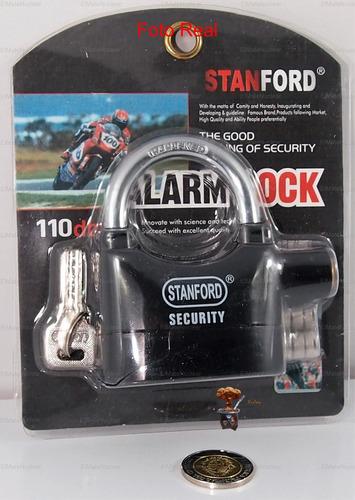 candado tranca con alarma 110db motos bicicletas casas stk