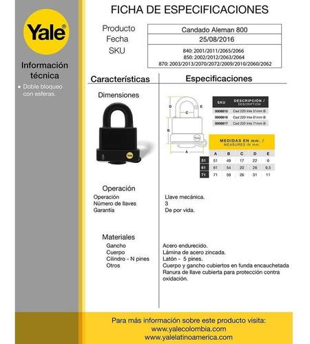 candado zinc laminado 71mm recubierto pvc yale y220/71/130/1