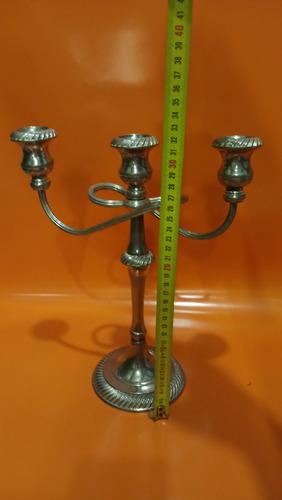 candelabro antiguo bronce 3 velas baño plata