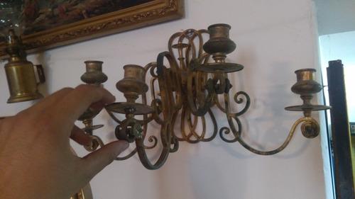 candelabro arbotante de bronce 5 velas