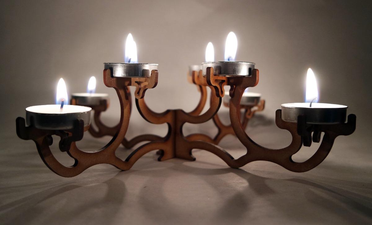 Candelabro centro de mesa madera mdf adorno decoraci n - Velas de adorno ...